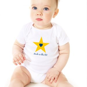 """Made in the EU – Star"" Organic Cotton Babygrow"
