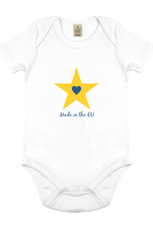 """Made in the EU – Star"" Organic Cotton Babygrow"