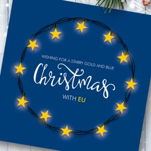 Pack of 6 EU Flag Fairy Lights Christmas Cards