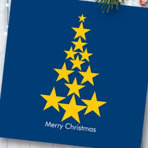 Pack of 6 EU Star Christmas Tree Cards